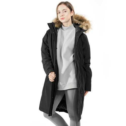 Women's Hooded Long Down Coat with Faux-fur Trim-Black-M