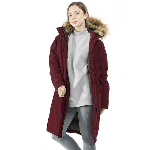 Women's Hooded Long Down Coat with Faux-fur Trim-Red-L