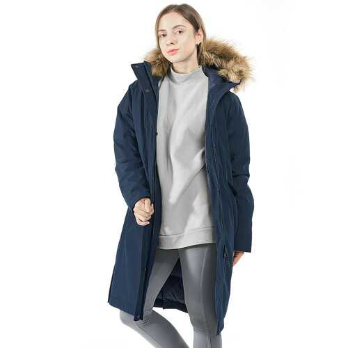 Women's Hooded Long Down Coat with Faux-fur Trim-Navy-S