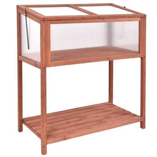 Garden Portable Wooden Cold Frame Greenhouse