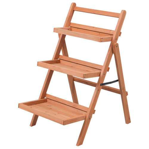 3 Tier Outdoor Wood Flower Folding Pot Shelf Stand