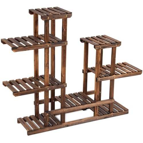 6 Tier Wooden Shelf Storage Plant Rack Stand