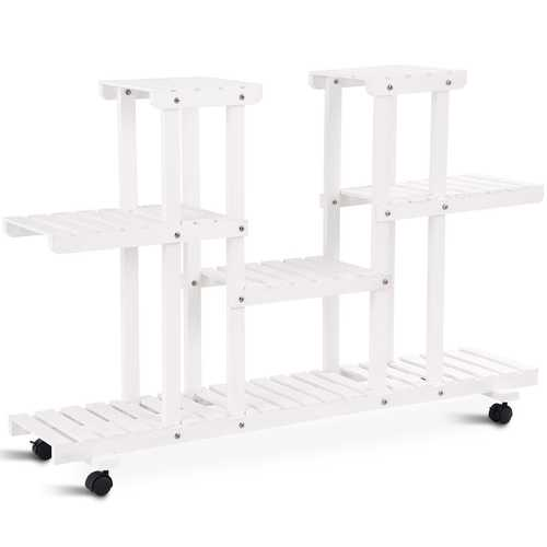 4-Tier Wood Casters Rolling Shelf Plant Stand