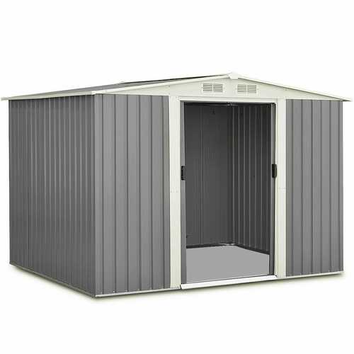 6' x 8' Outdoor Storage Shed Tool House with Sliding Door