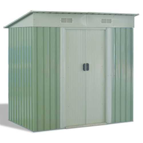 4 x 6.2 ft Outdoor Galvanized Steel Tool Storage Shed with Sliding Door