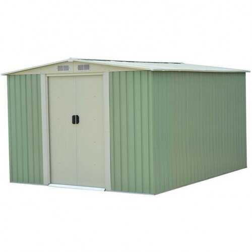 Galvanized Steel Garden Storage Shed Tool House-Green