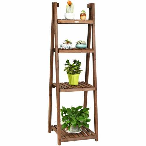 Folding Flower Stand Rack Wood Plant Storage Display Shelf