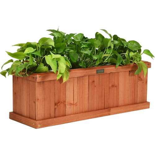 "2' x 4"" Wooden Decorative Planter Box for Garden Yard and Window"