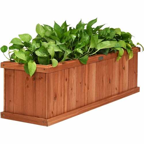 """3' x 3"""" Wooden Decorative Planter Box for Garden Yard and Window"""