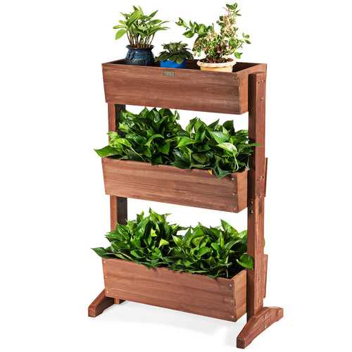3-Tier Raised Garden Bed Vertical Freestanding Elevated Planter