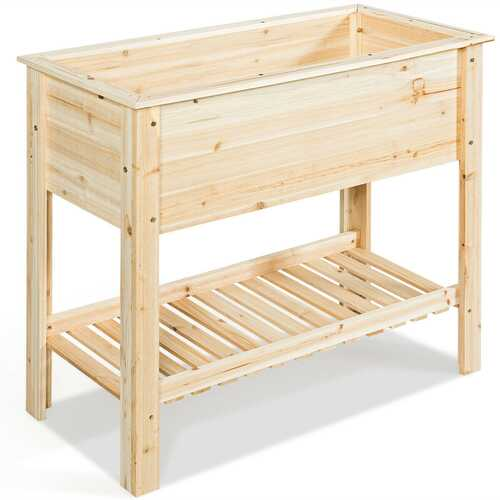Raised Garden Bed with Storage Shelf