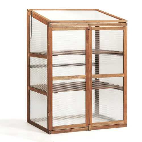 Portable Wooden Garden Cold Frame Greenhouse