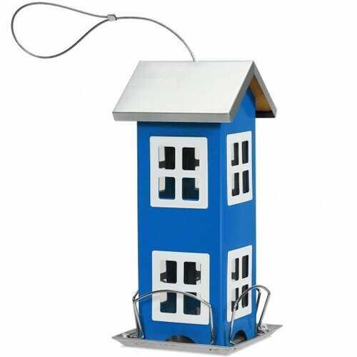 Outdoor Garden Yard  Wild Bird Feeder Weatherproof House-Blue - Color: Blue