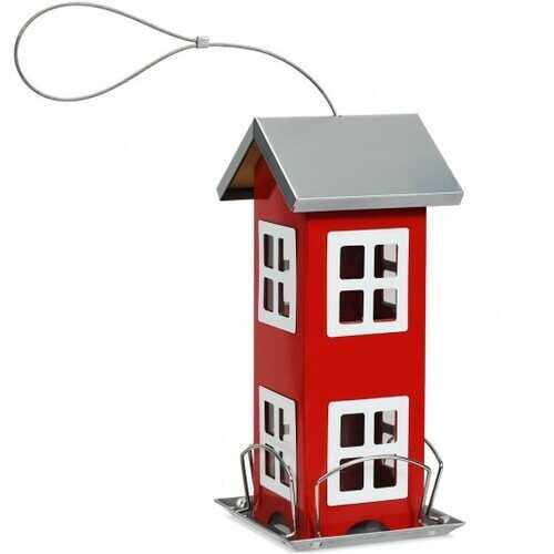 Outdoor Garden Yard Wild Bird Feeder Weatherproof House-Red - Color: Red