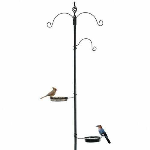 Wild Bird Feeder Planter Hanger with Mesh Tray and Bird Bath