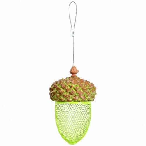 Metal Acorn Wild Bird Feeder Outdoor Hanging Food Dispenser for Garden Yard-Brown - Color: Brown