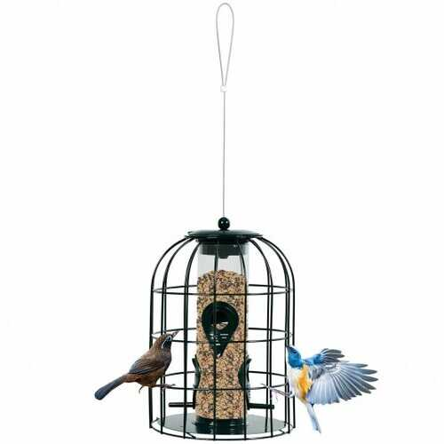 Squirrel-proof Caged Tube Wild Bird Feeder Outdoor Metal Seed Guard Deterrent