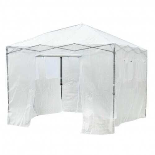 Greenhouse Outdoor Mini Walk-in Plant Portable Garden Greenhouse-White - Color: White