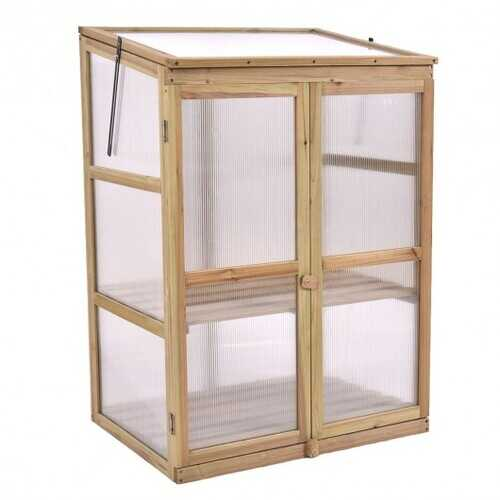 Garden Portable Wooden Raised Plants Greenhouse
