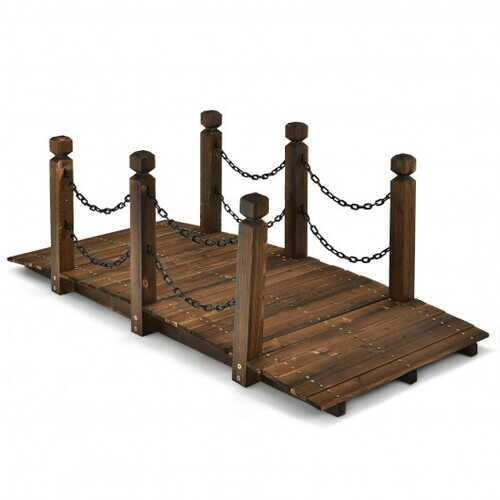 5 ft Wooden Garden Bridge Arc Footbridge Stained Finish Walkway with Safety Rails