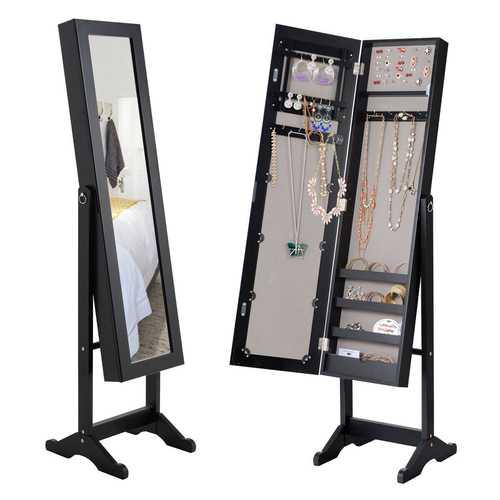 Mirrored Jewelry Cabinet Storage Box-Black/White