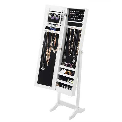 Mirrored Standing Jewelry Cabinet Storage Box-White