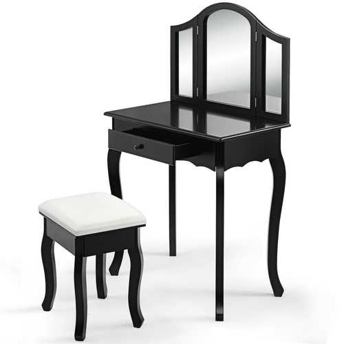 Vanity Makeup Dressing Table with Tri-Folding Mirror & Drawer-Black/White