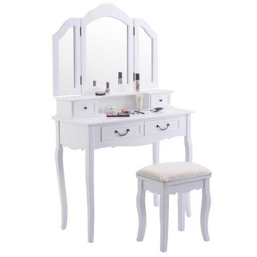 Vanity Makeup Dressing Table with Tri Folding Mirror + 4 Drawers