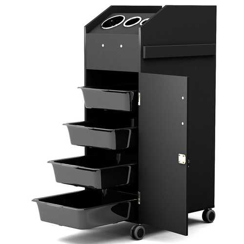Black Salon Trolley Cart with 4 Storage Trays