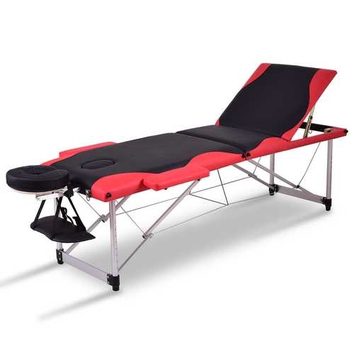 "Black&Red 72"" L Portable Massage Table with Free Carry Case"