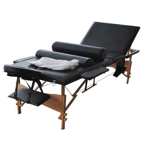 "New 84""L 3 Fold Massage Table Portable Facial Bed W/Sheet+Cradle Cover+2 Bolster-black"