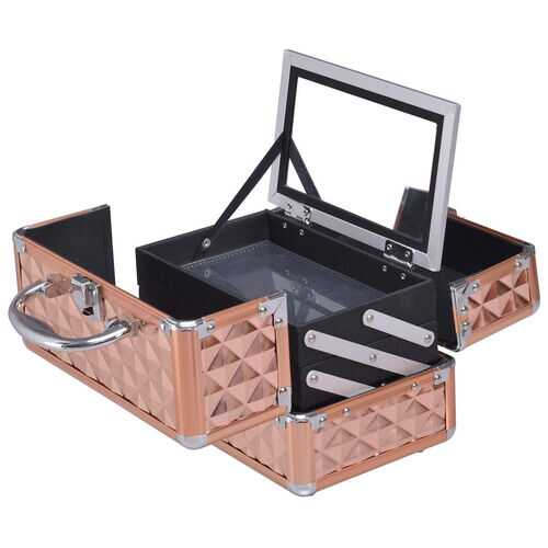 Beauty Cosmetic Makeup Case with Mirror & Extendable Trays-Golden