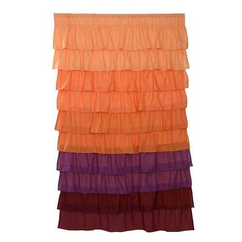 "1 PC Ruffle 54""X84"" Sheer Curtain Panels Drapes Valances Rod Pocket Polyester-orange"