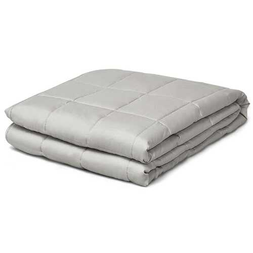 22 lbs Weighted Blankets 100% Cotton with Glass Beads-Light Gray
