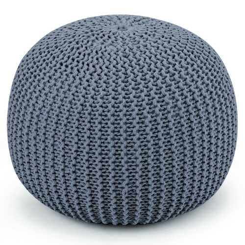 100% Cotton Hand Knitted Pouf Floor Seating Ottoman-Gray