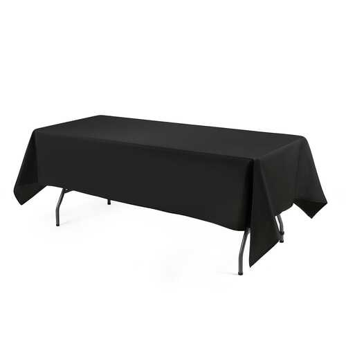 "10 pcs 90"" x 132"" Rectangle Polyester Tablecloth-Black"