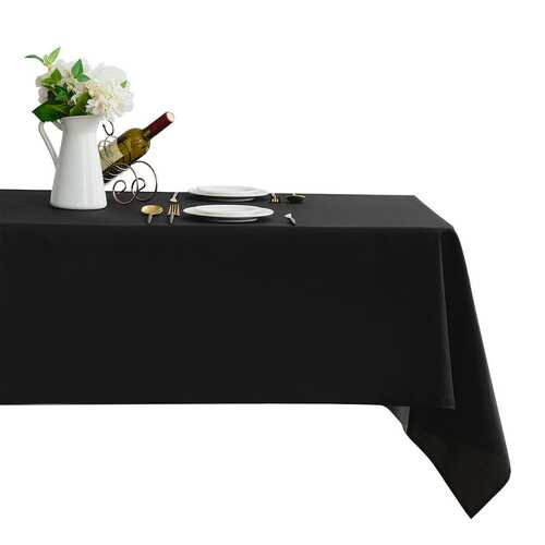 "10 pcs 60"" x 102"" Rectangle Polyester Tablecloth-Black"