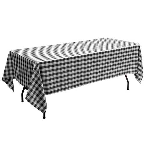 "10 Pcs 60"" x 102"" Rectangular Polyester Checker Kitchen Tablecloth-Black"