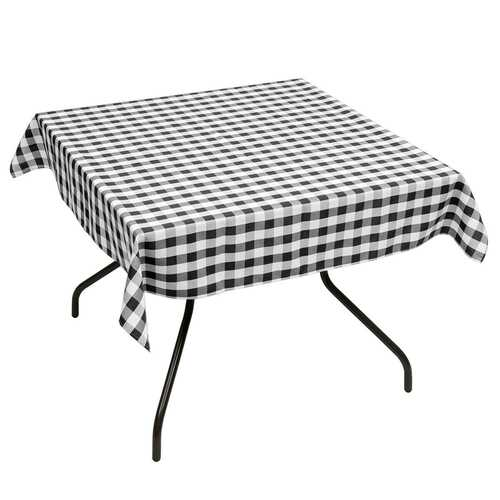 "10 Pcs 52"" x 52"" Square Polyester Plaid Dinner Tablecloth-Black"
