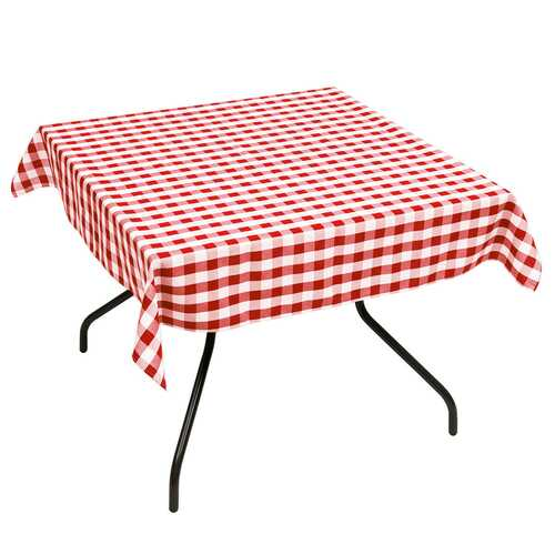 "10 Pcs 52"" x 52"" Square Polyester Plaid Dinner Tablecloth-Red"