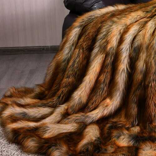 Soft Warm Fluffy for Bed Luxury Plush Faux Fur Blanket -M