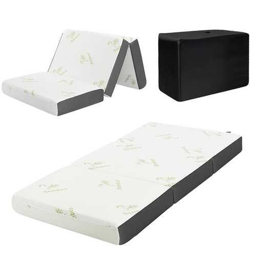 "6""  Tri-Folding Memory Mattress Sofa Bed Guests Floor Mat Carry Bag-Twin size"