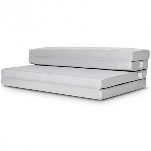 "4"" Tri-Fold Sofa Bed Foam Mattress with Handles-Queen Size"