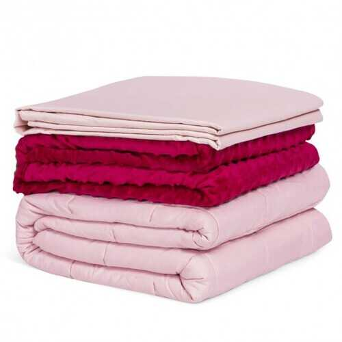 10lbs 3 pcs Heavy Weighted Duvet Blanket-Pink - Color: Pink