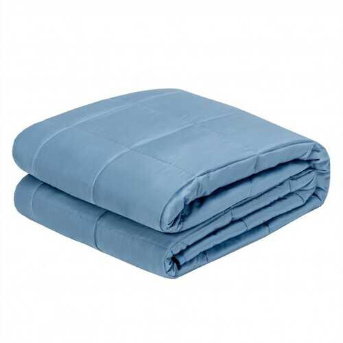 "15 lbs 60"" x 80"" Heavy Weighted Blanket Natural Bamboo Fabric Soft Breathable-Blue - Color: Blue"