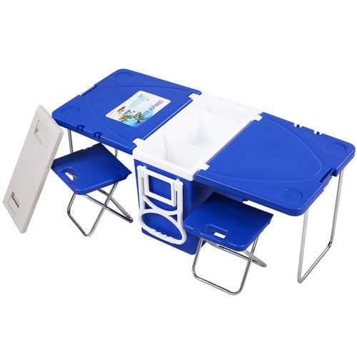 Multi Functional Rolling Picnic Cooler w/ Table & 2 Chairs