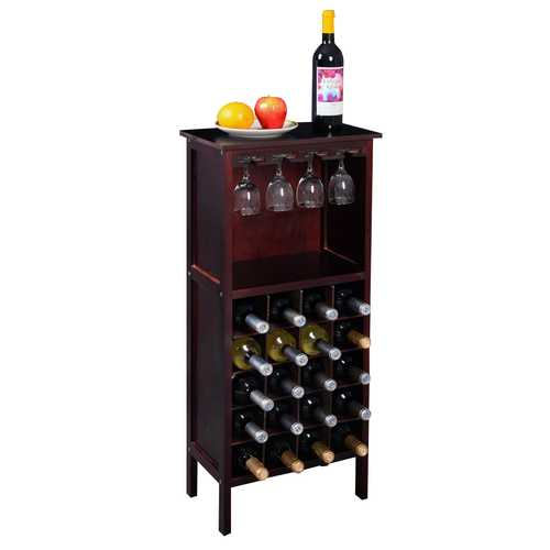 20 Bottles Wood Storage Glass Holder Cabinet Wine Rack