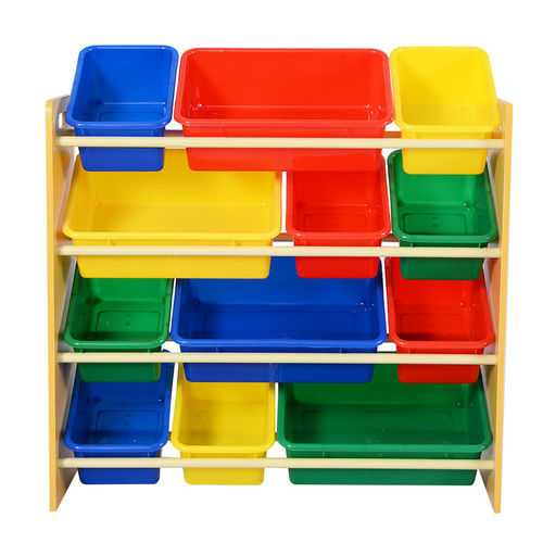 Kid's Toy Storage Organizer with 12 Colorful Plastic Box
