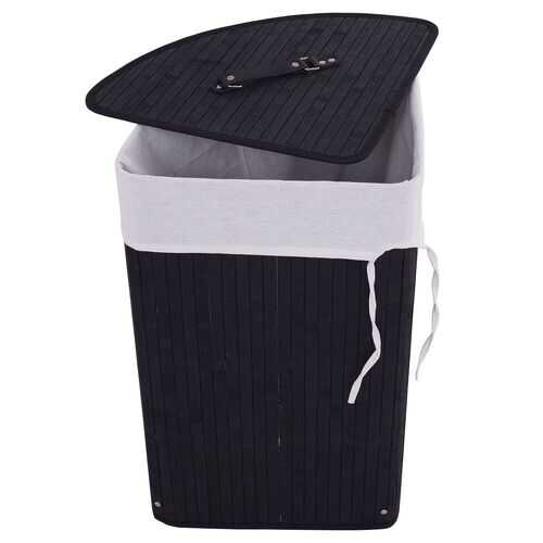 Corner Bamboo Hamper Laundry Basket-Black