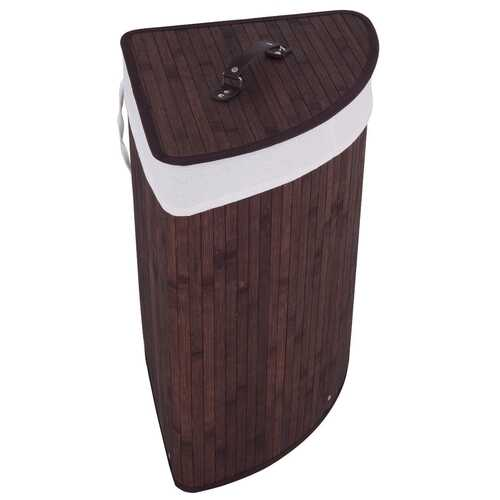Corner Bamboo Hamper Laundry Basket-Brown